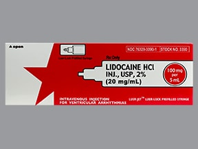 lidocaine (PF) 100 mg/5 mL (2 %) intravenous syringe