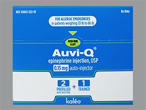 Auvi-Q 0.15 mg/0.15 mL auto-injector (for 33 lb to 66 lb patients)