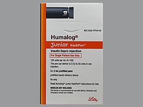 Humalog Junior KwikPen (U-100) 100 unit/mL subcutaneous half-unit pen