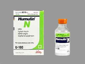 Humulin N NPH U-100 Insulin (isophane susp) 100 unit/mL subcutaneous