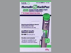 Humulin N NPH U-100 Insulin KwikPen 100 unit/mL (3 mL) subcutaneous