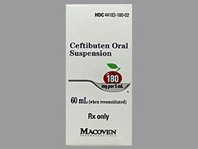 ceftibuten 180 mg/5 mL oral suspension