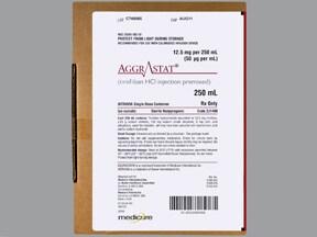 Aggrastat 12.5 mg/250 mL (50 mcg/mL) in iso-osmotic sodium chloride IV