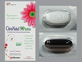 CitraNatal 90 DHA (algal oil) 90 mg iron-1 mg-50 mg-300 mg oral pack