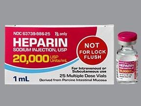 heparin (porcine) 20,000 unit/mL injection solution