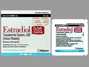 estradiol 0.05 mg/24 hr semiweekly transdermal patch
