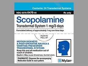 scopolamine 1 mg over 3 days transdermal patch