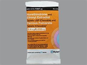 norethin-ethinyl estradiol-iron 0.4 mg-35 mcg(21)/75 mg(7) chew tablet