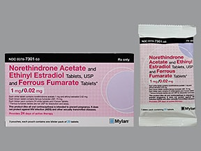 norethindrone 1 mg-ethinyl estradiol 20 mcg (24)-iron 75 mg (4) tablet