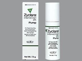 Zyclara 2.5 % topical cream in a pump