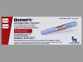 Ozempic 0.25 mg or 0.5 mg (2 mg/1.5 mL) subcutaneous pen injector
