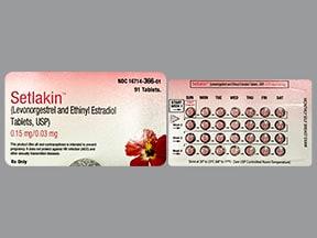 Setlakin 0.15 mg-30 mcg (91) tablets,3 month dose pack
