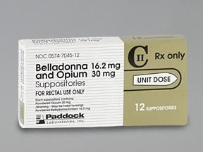 belladonna alkaloids-opium 16.2 mg-30 mg rectal suppository