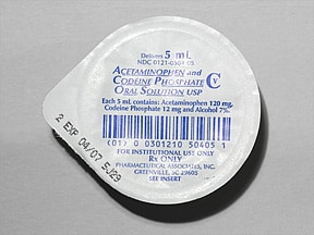 acetaminophen 120 mg-codeine 12 mg/5 mL (5 mL) oral solution