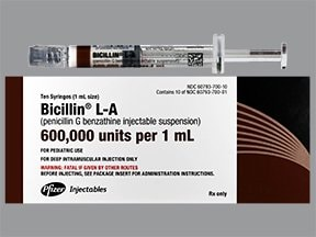 Bicillin L-A 600,000 unit/mL intramuscular syringe