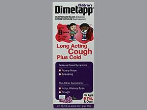 Dimetapp Long-Acting(chlorpheniramine-DM) 1 mg-7.5 mg/5 mL oral liquid