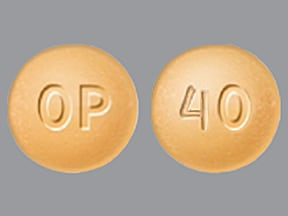 "This medicine is a yellow, round, film-coated, tablet imprinted with ""OP"" and ""40""."