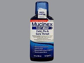 Mucinex Cold,Flu and Sore Throat 10 mg-20 mg-650 mg/20 mL oral liquid