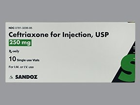 ceftriaxone 250 mg solution for injection