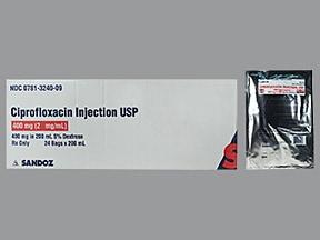 ciprofloxacin 400 mg/200 mL in 5 % dextrose intravenous piggyback
