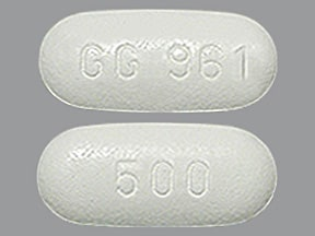 "This medicine is a white, oval, film-coated, tablet imprinted with ""GG 961"" and ""500""."