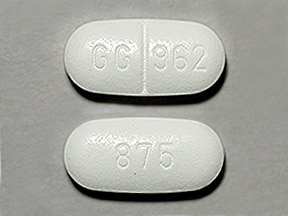 "This medicine is a white, oblong, scored, tablet imprinted with ""GG 962"" and ""875""."
