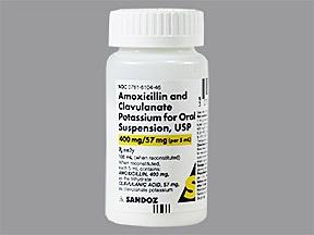amoxicillin 400 mg-potassium clavulanate 57 mg/5 mL oral suspension