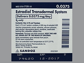 estradiol 0.0375 mg/24 hr semiweekly transdermal patch