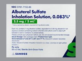 albuterol sulfate 2.5 mg/3 mL (0.083 %) solution for nebulization