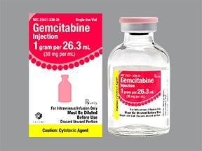 gemcitabine 1 gram/26.3 mL (38 mg/mL) intravenous solution