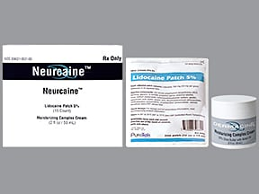 Neurcaine 5 % kit, patch, medicated and cream