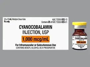 cyanocobalamin (vit B-12) 1,000 mcg/mL injection solution