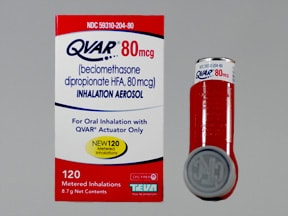 Qvar 80 mcg/actuation Metered Aerosol oral inhaler