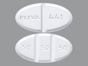 """This medicine is a white, oval, multi-scored, tablet imprinted with """"PLIVA 441"""" and """"50 50 50""""."""