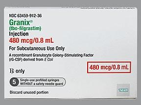 Granix 480 mcg/0.8 mL subcutaneous syringe