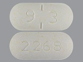 "This medicine is a off-white, oblong, partially scored, cherry, chewable tablet imprinted with ""9 3"" and ""2268""."