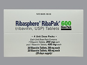 Ribasphere RibaPak 200 mg (28)-400 mg (28) tablets in a dose pack