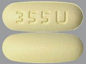 "This medicine is a pale yellow, oblong, film-coated, tablet imprinted with ""355 U""."