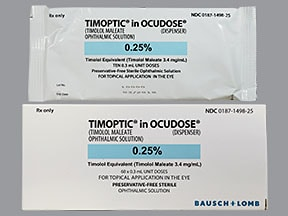 Timoptic Ocudose (PF) 0.25 % eye drops in a dropperette