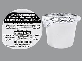 aluminum-mag hydroxide-simethicone 400 mg-400 mg-40 mg/5 mL oral susp