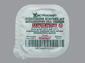 hydrocodone 7.5 mg-acetaminophen 325 mg/15 mL oral solution