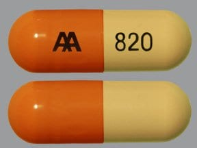"This medicine is a caramel buff, oblong, capsule imprinted with ""AA  820""."