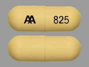 "This medicine is a buff, oblong, capsule imprinted with ""AA  825""."
