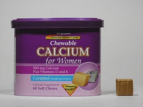 Calcium for Women 500 mg-100 unit-40 mcg chewable tablet
