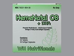 HemeNatal OB + DHA 28 mg iron-6 mg iron-1 mg oral pack