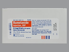 bumetanide 0.25 mg/mL injection solution