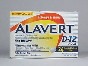 Alavert D-12 Allergy-Sinus 5 mg-120 mg tablet,extended release