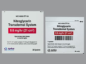 nitroglycerin 0.6 mg/hr transdermal 24 hour patch
