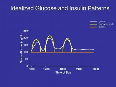 Simplified scheme of idealized blood glucose value