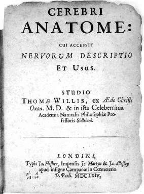 Title page of Dr. Thomas Willis' Cerebri Anatome.
